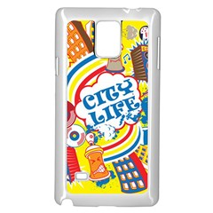 Colorful City Life Horizontal Seamless Pattern Urban City Samsung Galaxy Note 4 Case (white)