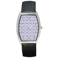 Pastel Lines, Bars Pattern, Pink, Light Blue, Purple Colors Barrel Style Metal Watch
