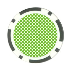 Pastel Green Lemon, White Polka Dots Pattern, Classic, Retro Style Poker Chip Card Guard