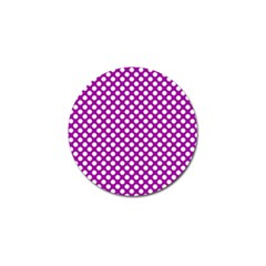 White And Purple, Polka Dots, Retro, Vintage Dotted Pattern Golf Ball Marker by Casemiro