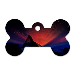 Matterhorn Switzerland Fantasy Aurora Dog Tag Bone (one Side)