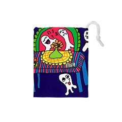 Circus Ghosts Digital Drawstring Pouch (small) by snowwhitegirl