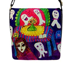 Circus Ghosts Flap Closure Messenger Bag (l) by snowwhitegirl