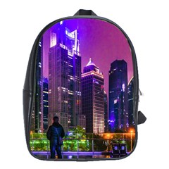 Lujiazui District Nigth Scene, Shanghai China School Bag (large) by dflcprintsclothing