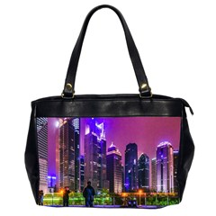 Lujiazui District Nigth Scene, Shanghai China Oversize Office Handbag (2 Sides) by dflcprintsclothing