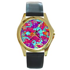 Dinos Round Gold Metal Watch by Sobalvarro