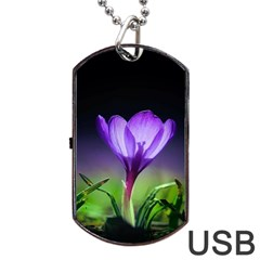 Floral Nature Dog Tag Usb Flash (two Sides) by Sparkle