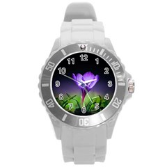 Floral Nature Round Plastic Sport Watch (l)