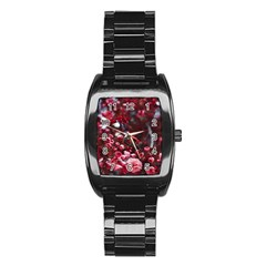 Red Floral Stainless Steel Barrel Watch by Sparkle