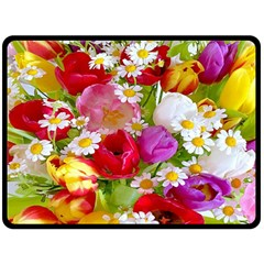 Beautiful Floral Double Sided Fleece Blanket (large)