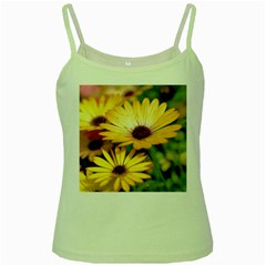 Yellow Flowers Green Spaghetti Tank by Sparkle