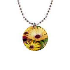 Yellow Flowers 1  Button Necklace