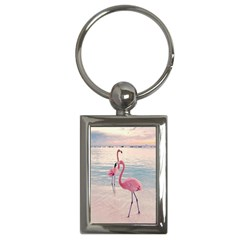 Flamingos Beach Key Chain (rectangle)