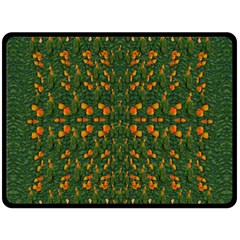 Sakura Tulips Giving Fruit In The Festive Temple Forest Double Sided Fleece Blanket (large)