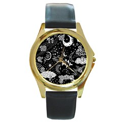 Vector Set Sketch Drawn With Space Round Gold Metal Watch by Bejoart