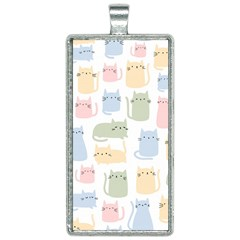 Cute Cat Colorful Cartoon Doodle Seamless Pattern Rectangle Necklace