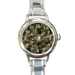 Abstract Vector Military Camouflage Background Round Italian Charm Watch