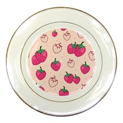 Seamless Strawberry Fruit Pattern Background Porcelain Plates by Bejoart