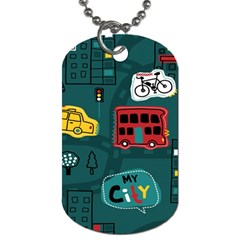Seamless Pattern Hand Drawn With Vehicles Buildings Road Dog Tag (one Side)