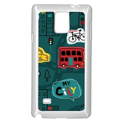 Seamless Pattern Hand Drawn With Vehicles Buildings Road Samsung Galaxy Note 4 Case (white)