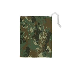 Camouflage Splatters Background Drawstring Pouch (small) by Bejoart