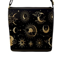Asian Set With Clouds Moon Sun Stars Vector Collection Oriental Chinese Japanese Korean Style Flap Closure Messenger Bag (l) by Bejoart