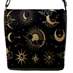 Asian Set With Clouds Moon Sun Stars Vector Collection Oriental Chinese Japanese Korean Style Flap Closure Messenger Bag (s) by Bejoart