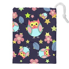 Owl Stars Pattern Background Drawstring Pouch (5xl)