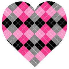 Seamless Argyle Pattern Wooden Puzzle Heart by Bejoart
