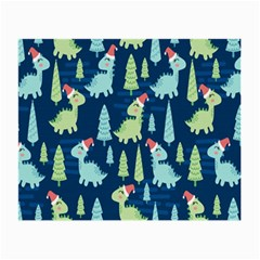 Cute Dinosaurs Animal Seamless Pattern Doodle Dino Winter Theme Small Glasses Cloth (2 Sides) by Bejoart
