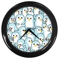 Penguins Pattern Wall Clock (black) by Bejoart
