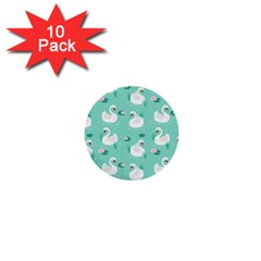 Elegant Swan Seamless Pattern 1  Mini Buttons (10 Pack)