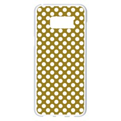 Gold Polka Dots Patterm, Retro Style Dotted Pattern, Classic White Circles Samsung Galaxy S8 Plus White Seamless Case