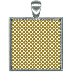 Gold Polka Dots Patterm, Retro Style Dotted Pattern, Classic White Circles Square Necklace by Casemiro