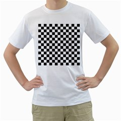 Black And White Chessboard Pattern, Classic, Tiled, Chess Like Theme Men s T-shirt (white) (two Sided) by Casemiro