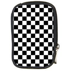 Black And White Chessboard Pattern, Classic, Tiled, Chess Like Theme Compact Camera Leather Case