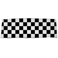 Black And White Chessboard Pattern, Classic, Tiled, Chess Like Theme Body Pillow Case Dakimakura (two Sides) by Casemiro