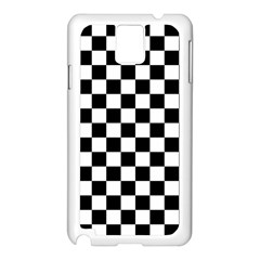 Black And White Chessboard Pattern, Classic, Tiled, Chess Like Theme Samsung Galaxy Note 3 N9005 Case (white) by Casemiro