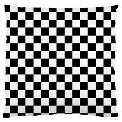 Black And White Chessboard Pattern, Classic, Tiled, Chess Like Theme Large Flano Cushion Case (two Sides) by Casemiro
