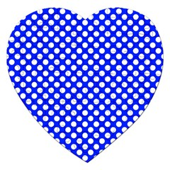 Dark Blue And White Polka Dots Pattern, Retro Pin-up Style Theme, Classic Dotted Theme Jigsaw Puzzle (heart) by Casemiro