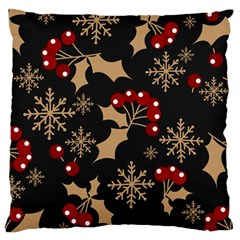 Christmas Pattern With Snowflakes Berries Standard Flano Cushion Case (one Side) by Bejoart
