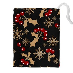 Christmas Pattern With Snowflakes Berries Drawstring Pouch (3xl)