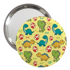 Seamless Pattern With Cute Dinosaurs Character 3  Handbag Mirrors