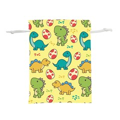 Seamless Pattern With Cute Dinosaurs Character Lightweight Drawstring Pouch (m)
