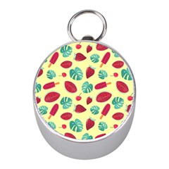 Watermelons, Fruits And Ice Cream, Pastel Colors, At Yellow Mini Silver Compasses