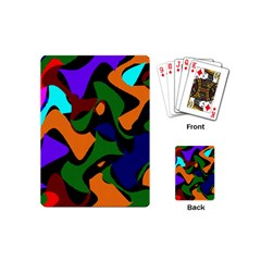 Trippy Paint Splash, Asymmetric Dotted Camo In Saturated Colors Playing Cards Single Design (mini) by Casemiro