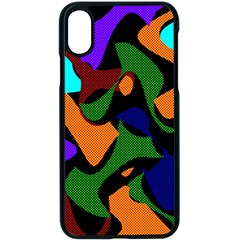 Trippy Paint Splash, Asymmetric Dotted Camo In Saturated Colors Iphone Xs Seamless Case (black)