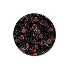 Raccoon Floral Rubber Round Coaster (4 Pack)