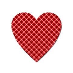 Three Color Tartan, Red Grey, Black Buffalo Plaid Theme Heart Magnet by Casemiro