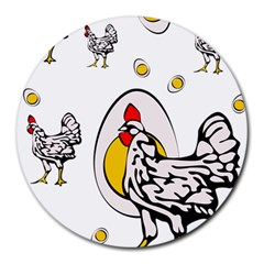 Roseanne Chicken, Retro Chickens Round Mousepads by EvgeniaEsenina